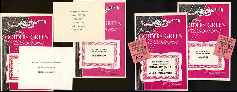 1961 Golders Green progams
